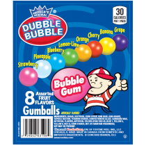"Dubble Bubble Assorted Gumballs 1"" 850count Box"
